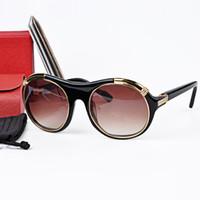 Wholesale Tortoise Fashion Frames - CT1117 Brand mens sunglasses Designer vitesse style Tortoise Color Gold-Plated round Frame Resin Lens with Sunglasses brands Box