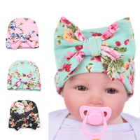 Wholesale baby winter cape - Hats Flower Bowknot Baby Girls Infant Newborn Cotton Printing Beanies Hat Birthday Gifts Hats Hair Accessory Boutique Winter Beanie Capes