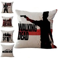 Wholesale Pillow Walks - The Walking Dead Pillow Case Cushion cover Linen Cotton Throw Pillowcases sofa Bed Pillow covers Drop shipping PW365