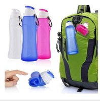 FDA sports travel tours - Free DHL Silicone Folding Kettle Tour Climbing Hiking Camp Water Bottle Portable Sport Foldable Gift Mug ml