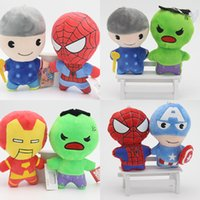 Wholesale Spider Plush Halloween - Free Shipping Plush Toy Avenger Steel Man Green Giant Spider-Man Raytheon US Captain's Plush Doll for Children's Gift