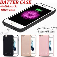 Wholesale Battery Charger Case Cover - Ultra Thin Silicon Backup External Charger Battery Case For iPhone 6 6Splus Power Case Cover Mobile Cell Phone Fit Portable Case
