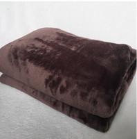 cama de flor marrom venda por atacado-Clássico flor marrom Famoso padrão L 2 Camadas Cobertor De Lã Flanela Cobertor De Espessura Sofá / Cama / Viagem dupla camada Cobertor De Lã macio