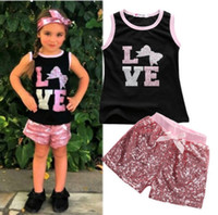 Wholesale Zebra Love - love letters floral sleeveless t-shirts sequined pants girls clothing suits children kids summer clothing sets pink red girls casual outfits