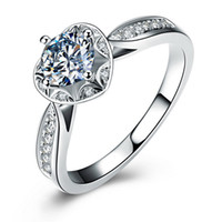 Wholesale Hearts Symbols - Luxury 100% 925 Sterling Silver Wedding Ring with a Single Heart-shaped SONA Diamond Showcased in a Classic Symbol of Love