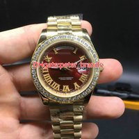 Wholesale Small Mechanical Watch - Full iced new arrivals brand watch day date work sweep smoothly mechanical automatic movement diamonds face small stones bezel luxury watche