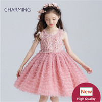 Wholesale Dresses Appliques Feather Taffeta - Blush pink flower girl dresses Short prom dress Girls pageant dress High quality designer dresses real photo China wedding dress beach weddi