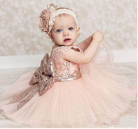 Wholesale Tulle Mid Wedding Dress - New Cute Mid-calf Pink Sheer Toddler Flower Girl Dress Kids Evening Gown Custom Made Ball Gown Baby Birthday Party Dress