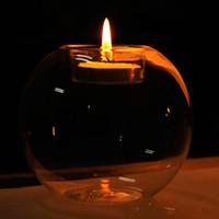 kerze handgefertigt großhandel-Handmade Transparent Sphärische Glas Kerzenhalter Kreative Romantische Dekorative Handwerk Mode Tabletop Kerzenhalter Die Meisten Billig 3yr2 R