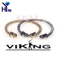 tête de jonc pour homme achat en gros de-Gros-The Vikings Bracelet à deux têtes Wolf Fenrir Nordique Viking Logo Hommes Twist Bracelet Bijoux Pagan Bangle Bijoux Bracelets