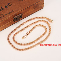 "Wholesale gold rope chain necklace solid - 5mm Rich Men's Women's 18k Rose Solid gold GF thick neck necklace fine rope chain 23.6"" or 19.6"" Select"