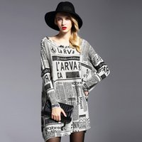 Pullover oversized dress pattern - 2017 New Arrival Fashion Women Sweater Loose Plus Wool Blended Bat Sleeves Pullover Oversized Casual Newspaper Letters Pattern Sweater Dress