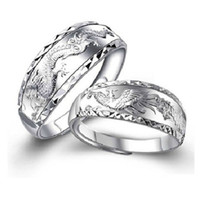 Wholesale Dragon Phoenix Rings - DRAGON&PHOENIX WEDDING RINGS 2PC SET SFREE SHIPPING USA WHOLESALES SIZE CAN BE ADJUSTED STERLING SILVER WOMEN&MENS'