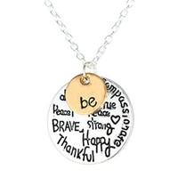 "Wholesale Happy Easter Gift - Two-Tone Meaningful Lettering Necklace With ""Be Peace Free True Brave Strong Happy Thankful Compassionate"" Silver Chain 18"""