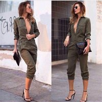 Wholesale Wholesale Ladies Jumpsuits Sleeves - Wholesale- Sexy Women New Fashion Slim Bodycon Jumpsuit Long Sleeve Army Green Solid Casual Bodysuit Ladies Vintage Romper Long Jumpsuit
