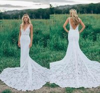 Wholesale Fitted Lace Elegant Dress - 2018 Romantic Boho Elegant Backless Lace Wedding Dresses V-neck Sheer Ruched Novia Fitted Mermaid Bohemia Bridal Gowns with Court Train