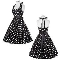 elbise partisi beyaz noktalar toptan satış-Yaz Kadın Elbiseler 2017 Casual Polka Dot Retro Vintage 50 s 60 s robe Rockabilly Salıncak Pinup Parti Elbise Siyah Beyaz