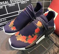 Wholesale Lace Peony Flowers - Blue Peony Pharrell Williams NMD X OFF Running Shoes Human Race Boost Bb0622 X Print Men Sports Shoes Rose Flower Sneakers size 36-45
