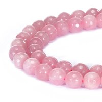 Wholesale Loose Round Rose Quartz - High quality Natural Stone faceted Rose Quartz Round Loose Beads 4 6 8 10 12mm Jewelry Making Bracelet Diy beads