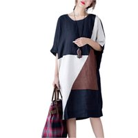 Wholesale Kimono Style Dress Sleeve - New Arrival 2017 Summer Fashion Arts Style Women Short Sleeve Loose Casual Long Dress Patchwork Cotton Linen Vintage Dress