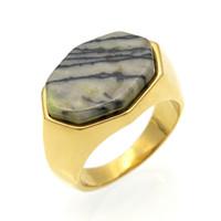 Wholesale Semi Precious Silver Rings - Fashion Brand Semi-precious Stone Gold Silver Plated Rings Lapis Lazuli Vintage JewelryFor Men Women