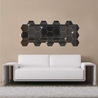 tapete gespiegelte wand großhandel-Umweltfreundliche Wand-Aufkleber Tapete Acryl 3D Spiegeleffekt-Hauptraum-Dekor-entfernbare Modern Fashion Größe 80 * 80mm 5 Farbe