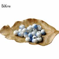 seramik kristal boncuklar toptan satış-BoYuTe 100 Adet 8 MM Boncuk Toptan Diy Takı Malzemeleri 6 Renkler Kırık Buz Kristal Porselen Seramik Boncuk
