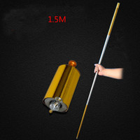 Wholesale Magic Tricks Appearing Cane - 1pcs 150CM length golden Silver cudgel metal Appearing Cane magic tricks for professional magician stage street magic illusion telescopic cu