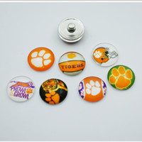 Wholesale Traditional Tiger - 20pcs NCAA Clemson Tigers Sports Team Glass Button Snaps Jewelry Fit For 18MM Good Quality Charm Bracelet