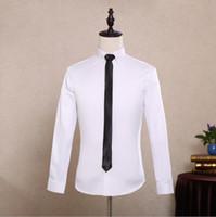 Wholesale Groom Shirts Black Button - Fashion Formal Men Shirt Long Sleeve Tuxedo Shirt white dress shirt black buttons Men Korean Business Mens Dress Shirts Groom Shirts