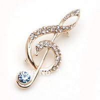 Wholesale musical brooches resale online - Gold Plated Rhinestone Crystal Musical Signal Diamante Pin Brooch