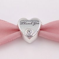 Wholesale silver thank charms - Authentic 925 Sterling Silver Beads Thank You Heart Charm Charms Fits European Pandora Style Jewelry Bracelets & Necklace 792096CZ