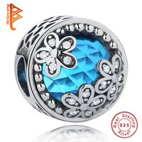 Wholesale Glass Silver White Flower Bead - BELAWANG 925 Sterling Silver Charm Beads Carved Heart Blue Glass With White CZ Flower Beads Fit Pandora Charm Bracelets&Bangles Making