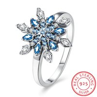 Wholesale Evening Jewelery - Elegant Queen Fashion 100% 925 Sterling Silver Blue Snowflake Cubic Zircon Rings Party Evening Women's Rings Bride Wedding Jewelery Gifts