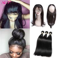 Wholesale Unprocessed Chinese Straight Hair - 8A Grade Brazilian Virgin Hair Bundles Straight Hair 360 Lace Frontal with 3 Bundles 100% Unprocessed Virgin Human Hair Extensions