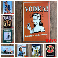 Wholesale Bacardi Samuel Adams Vodka vintage Craft Tin Sign Retro Metal Poster Bar Pub Signs Wall Art Sticker Mixed designs