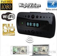 Wholesale Clock Spy Camera Motion Detect - Spy camera wireless LCD clock Camera Night vison 1080P HD Wifi Hidden Cameras Mini Camcorders P2P Clock H.264 Video recorder motion detect