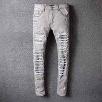 Wholesale Grey Designer Jeans - Grey Ripped Robin Jeans For Men With Holes Denim Super Skinny Famous Designer Brand Slim Fit Robins Jean Pants Scratched Biker Jeans 29-42