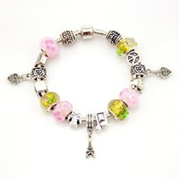Wholesale Toggle For Glasses - European Original 925 Tibet Silver Crystal Charm Bracelet Bangle for Women DIY Pandora Murano Glass Bead Bracelet Jewelry Pulseras Gift