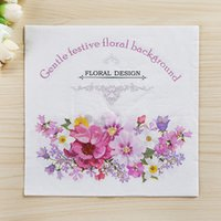 Wholesale Hotel Tissue - Wholesale- 20pcs lot wedding napkins flower Tissue wedding party decoration hotel kids birthday party supplies paper napkin party favor