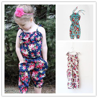 Wholesale Toddler Girl Suspender Outfits - INS Girls Floral Jumpsuit Suspenders Lace-up Outfits Summer Onesies Bodysuit Kids Flower Printed Romper Toddler Overalls