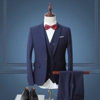 одежда для жениха оптовых-Wholesale- 2016 Men's Suit Three-piece Business Costume Back Center Split Wedding Bridegroom Single Row Of One Button  Formal Clothing