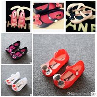 Wholesale Cute Kid Shoes - Mini Sed Baby Bow Sandals Girls Fish Mouth Detailed Jelly Sandals Newest Cute Kids Summer Toddler First Walker Shoes Boots Baby Shoes J43