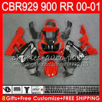 honda cbr 929 verkleidungen rot großhandel-Körper für HONDA CBR 929RR CBR900RR CBR 929 RR CBR929RR 2000 2001 oben Rot silber 67NO27 CBR900 RR CBR 900RR CBR929 RR 00 01 Verkleidungskit 8Gifts