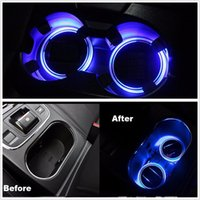 Wholesale 2PCS Solar Cup Holder Bottom Pad LED Light Cover Trim Atmosphere Lamp For All Car
