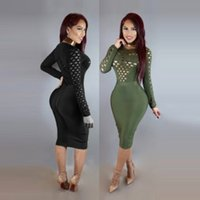 Wholesale Turtleneck Lady S - 2017 new European club sexy skirt ladies slim package hip waist bandage round neck long sleeved turtleneck dress