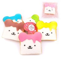 Wholesale 9 CM NEW kawaii Lovely expression Slices of toast squishy charm squeeze toy