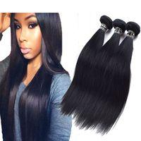 Wholesale hair jet black 26 inches online - 3PCS Jet Black Brazilian Straight Hair Extensions Top Grade Jet Black Virgin Hair Bundles deals Tissage Bresilienne Human Hair Weave