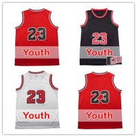 Wholesale Kids Shirts Sale - 23 Kids Jersey Hot Sale 23 Youth Basketball Jerseys Good Quality Boys Shirts Red White Black Embroidery Logos Size S-XL Accept Mix orders