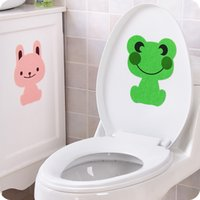 Wholesale Bear Wall Decals - fashion Creative cute Animal bathroom toilet stickers frog rabbit bear Removable Decorating Deodorant Thick Sticker Decor 2017 Wholesale